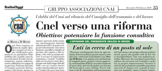 ItaliaOggi: Cnel verso una riforma